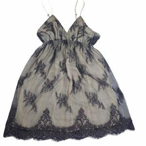 Flora Nikrooz Babydoll Silk Nightie Gray Lace L